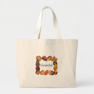 Autum Leaves Framing Grateful Canvas Bag