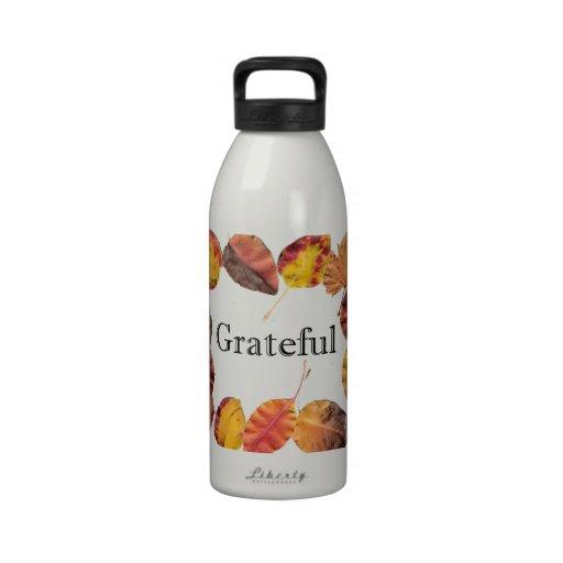Autum Leaves Framing Grateful Drinking Bottles