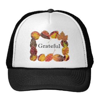 Autum Leaves Framing Grateful Mesh Hats