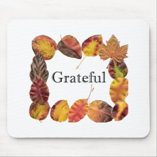 Autum Leaves Framing Grateful Mouse Pad