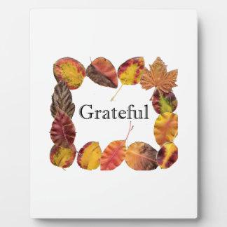 Autum Leaves Framing Grateful Plaque