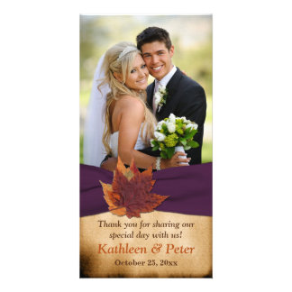 Autum Leaves Purple FAUX Ribbon Wedding Photo Card