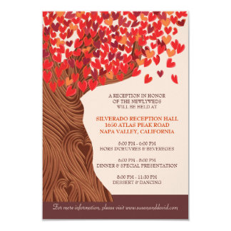 Autum Love Oak Tree Wedding Reception Card