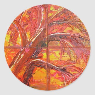 autum tree classic round sticker