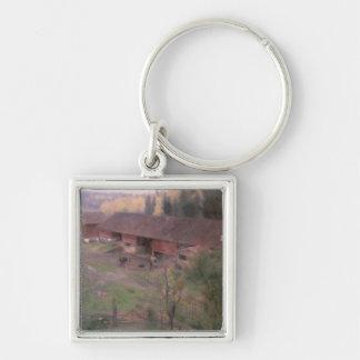 Autumn, 1891 Silver-Colored square keychain