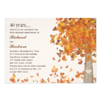 Autumn 40th Anniversary Photo Carved Initial Tree Cards