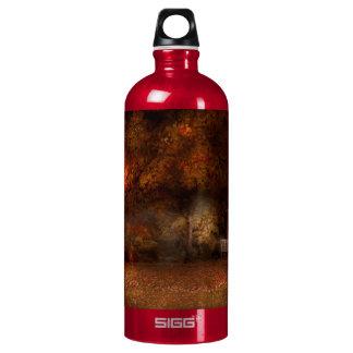 Autumn - A park bench Aluminum Water Bottle