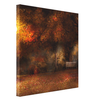 Autumn - A park bench Gallery Wrapped Canvas