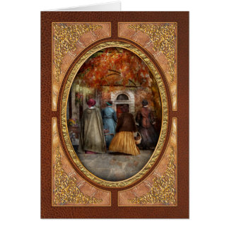 Autumn - A walk downtown Greeting Cards