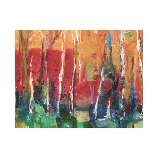 Autumn Abstract Landscape Art Painting Canvas Print