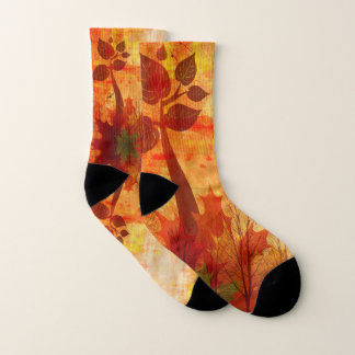 Autumn Abstract Scene in Fall Colors Socks
