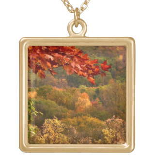 Autumn Abstract Square Pendant Necklace