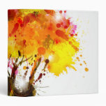 Autumn Abstract Tree Forming By Blots 3 Ring Binders