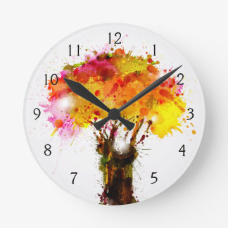 Autumn Abstract Tree Forming By Blots Round Wallclock