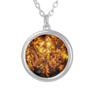 Autumn abstraction round pendant necklace