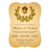 Autumn Acorn Oak Leaves Wreath Wedding Invitation