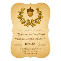 Autumn Acorn Oak Leaves Wreath Wedding Invitation