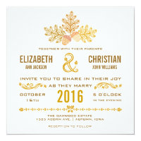 Autumn Acorns and Oak Leaves Wedding Invitation