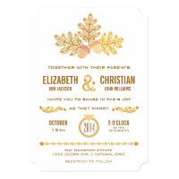 Autumn Acorns and Oak Leaves Wedding Invitation II