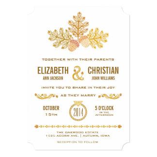 Autumn Acorns and Oak Leaves Wedding Invitation II