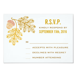 Autumn Acorns and Oak Leaves Wedding RSVP Card