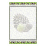 Autumn Acorns and Pine Cones Lg Any Color Stationa Stationery