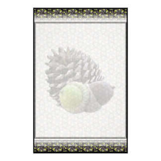 Autumn Acorns and Pine Cones Sm Any Color Stationa Stationery