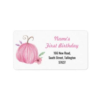 Autumn Address Labels Pumpkin Pink Birthday Girl