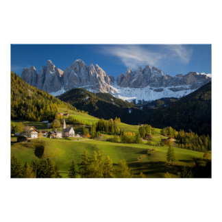 Autumn afternoon over Val di Funes Poster