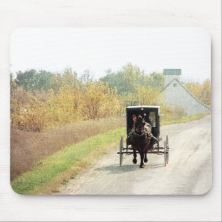 Autumn Amish Horse and Buggy Mouse Pad