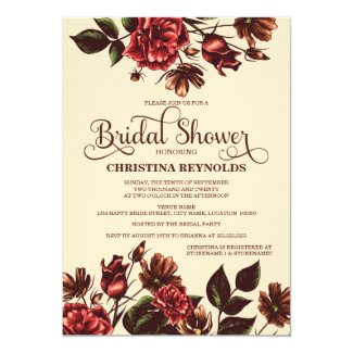Autumn and Fall Floral Bridal Shower 5x7 Paper Invitation Card