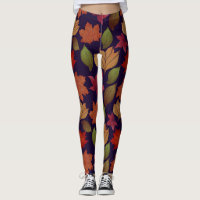 Autumn and Fall leaf Leggings