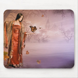 Autumn and Monarch Butterflies Mouse Pad