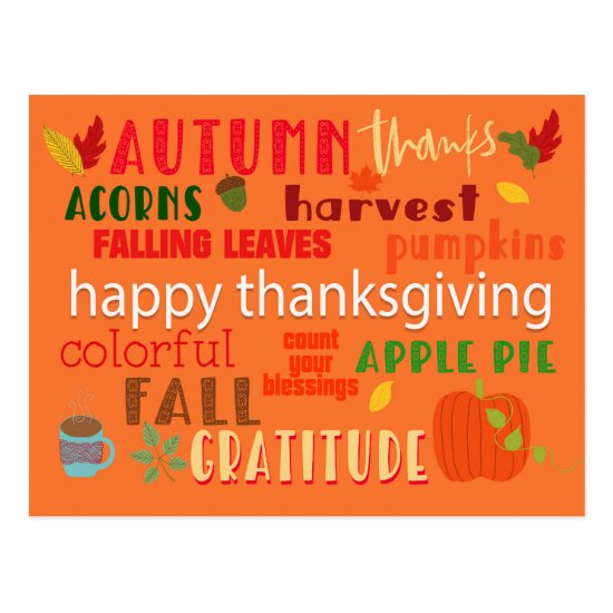 Autumn and Thanksgiving Typography Pattern Postcard