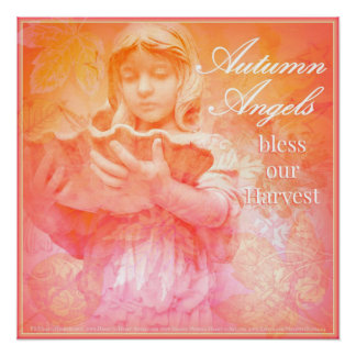 Autumn Angels Bless Our Harvest ~ Fall Decor Poster