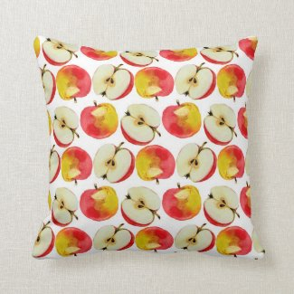 """Autumn Apples"" fall theme home decor throw pillow"