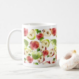 Autumn Apples Watercolor Print Coffee Mug