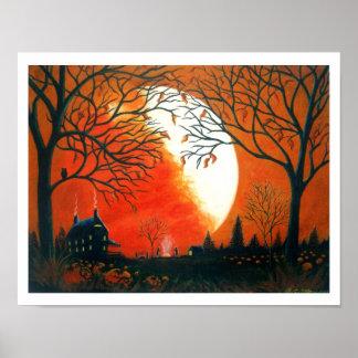 Autumn Art, Print,leaves,landscape,pumpkins Poster