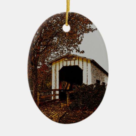 Autumn at Centennial Covered Bridge Ceramic Ornament