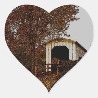Autumn at Centennial Covered Bridge Heart Sticker
