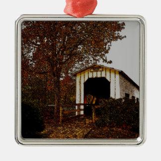 Autumn at Centennial Covered Bridge Metal Ornament