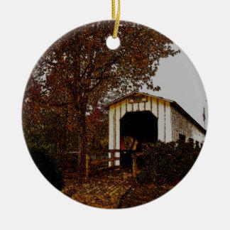 Autumn at Centennial Covered Bridge Christmas Tree Ornaments