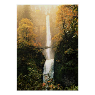 Autumn at Multnomah Falls Poster