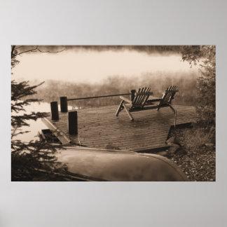 Autumn at the Lake Retro Poster