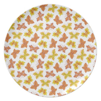 Autumn atmosphere with butterfly-shaped leaves dinner plate