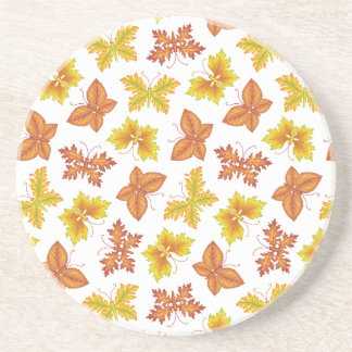 Autumn atmosphere with butterfly-shaped leaves drink coaster