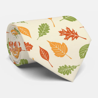 Autumn atmosphere with fall leaves neck tie