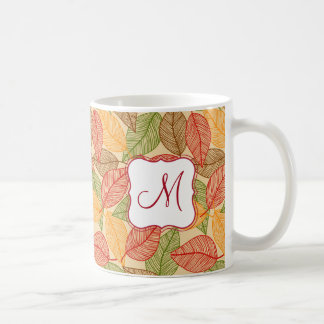 Autumn atmosphere with fall leaves on cream yellow coffee mug