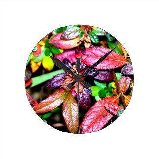Autumn Azalea Leaves Round Wallclocks