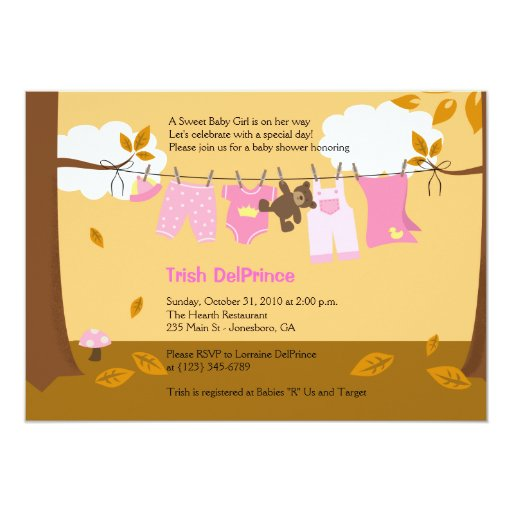 Autumn Baby Clothesline Pink Girl 5x7 Baby Shower Card